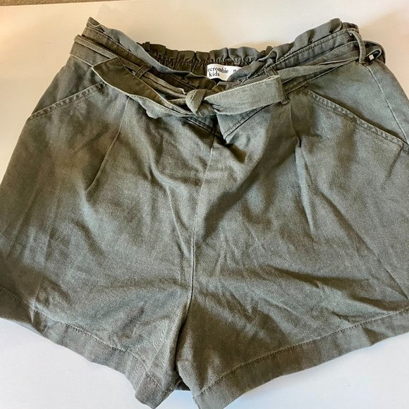 abercrombie kids dark green paper bag shorts